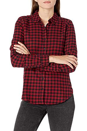 Goodthreads Brushed Flannel Drop-Shoulder Long-Sleeve Shirt Button-Down-Shirts, Black/Deep Red Mini Buffalo Plaid, US XXL