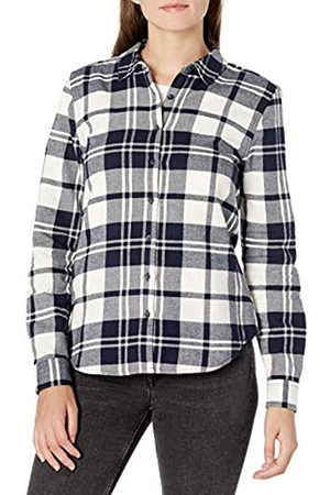 Goodthreads Brushed Flannel Drop-Shoulder Long-Sleeve Shirt Button-Down-Shirts, Navy Oversize Check, US