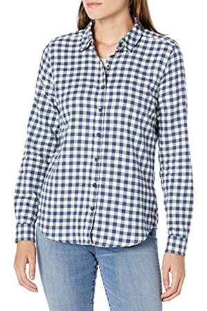 Goodthreads Brushed Flannel Drop-Shoulder Long-Sleeve Shirt Button-Down-Shirts, Deep Blue/off White Mini Buffalo Plaid, US L