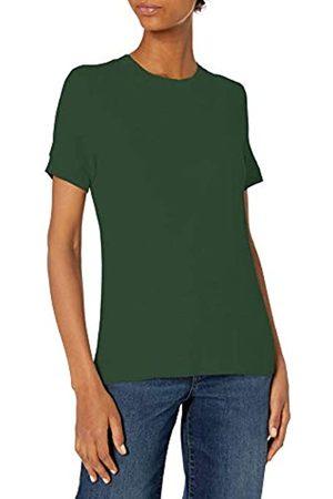 Daily Ritual Rayon Spandex Fine Rib Girocollo Manica Corta Banda Shirts, Giada, US S