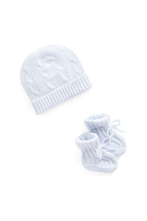 Ralph Lauren Set babbucce e berretto in cashmere