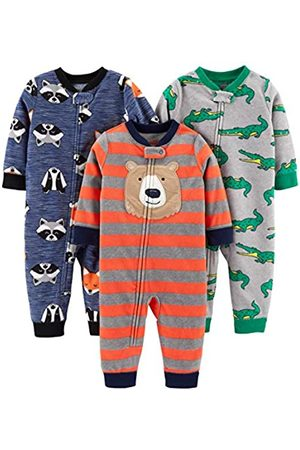 Simple Joys by Carter's 3-Pack Loose Fit Flame Resistant Fleece Footless Pajamas Sleepers, Bear/Alligator/Fox/Racoon, 18 Months
