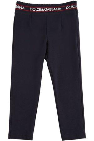 Dolce & Gabbana Pantaloni In Cotone Interlock Con Logo