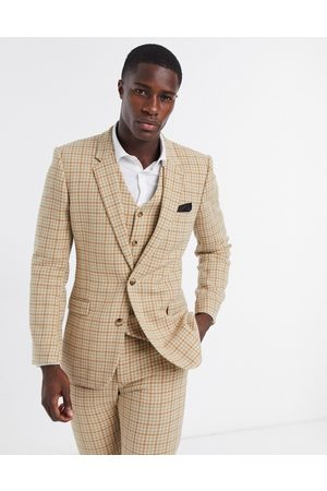 ASOS Wedding - Giacca da abito skinny in misto lana pied de poule color cammello