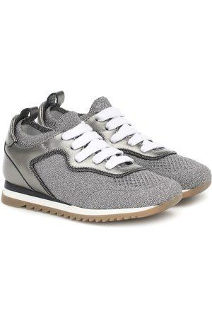 Brunello Cucinelli Sneakers in maglia e pelle con glitter