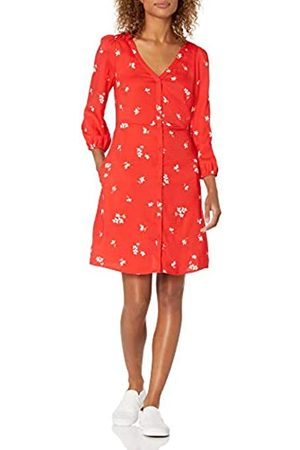 Goodthreads Georgette 3/4-Sleeve Button-Front Dress Dresses, Poppy Medium Floral Print, US XXL