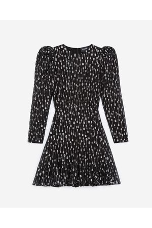 The Kooples Short black dress with silver polka dots