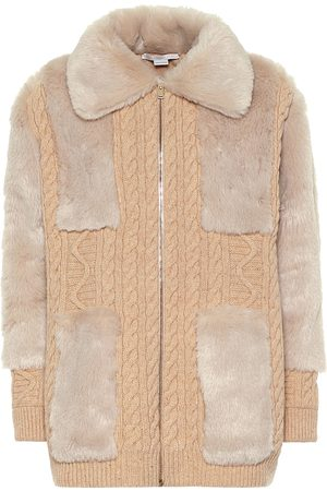 Stella McCartney Cardigan in lana con pelliccia sintetica