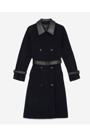 The Kooples Donna Impermeabili - Trench-style navy blue wool coat