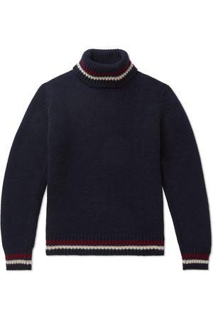 KINGSMAN Slim-Fit Striped-Trimmed Wool and Cashmere-Blend Rollneck Sweater