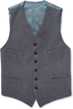 KINGSMAN Conrad Checked Wool and Satin Waistcoat
