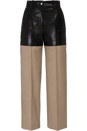 Peter Do Pantaloni Cropped In Tela E Pelle