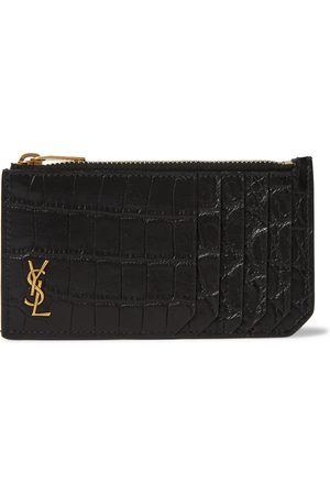 Saint Laurent Logo-Appliquéd Croc-Effect Leather Wallet