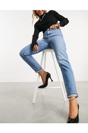 ASOS Farleigh - Mom jeans slim a vita alta stone wash