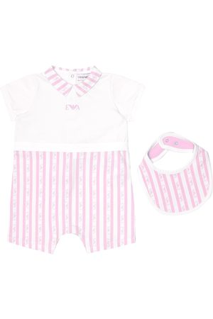 Emporio Armani Baby - Tutina e bavaglino a righe in cotone