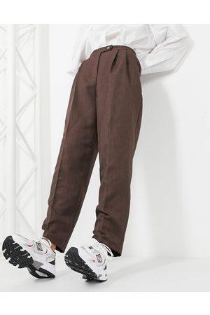 ASOS Pantaloni extreme dad fit marroni
