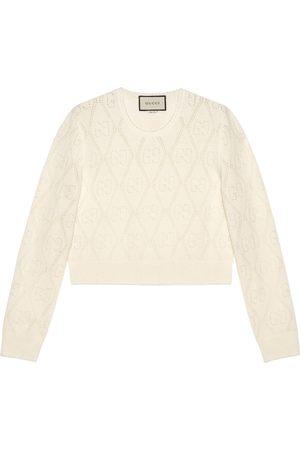 Gucci Maglione corto in lana con motivo GG traforato