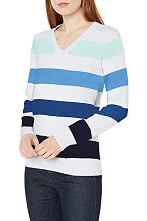 Amazon 100% Cotone a Maniche Lunghe con Scollo a V Pullover-Sweaters, Righe da Rugby, US S