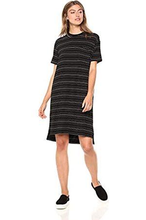Daily Ritual Jersey Short-Sleeve Boxy Pocket T-Shirt Dress Dresses, Black/White Stripe, US L