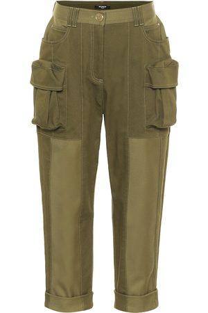 Balmain Pantaloni cropped in cotone stretch