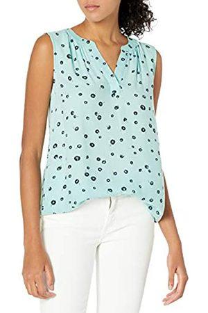 Amazon Donna Vestiti casual - Camicia in Tessuto Senza Maniche Dress-Shirts, Aqua Poppy, US M