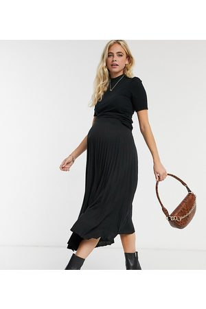 ASOS ASOS DESIGN Maternity - Gonna midi a pieghe nera
