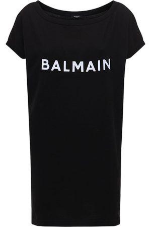 Balmain Vestito In Maglia Di Cotone Con Logo
