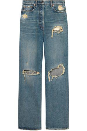 Gucci Pantalone in denim organico délavé con trattamento eco