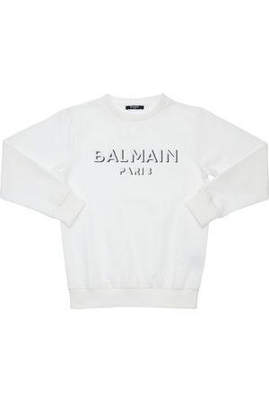 Balmain Felpa In Cotone Con Ricamo Logo