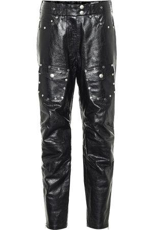 DRIES VAN NOTEN Pantaloni in pelle con borchie