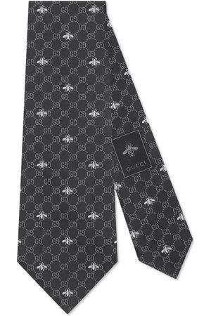 Gucci Cravatta in seta con api e motivo GG
