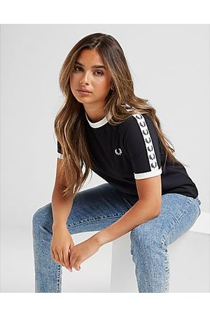 Fred Perry Tape Ringer T-Shirt Donna, Black
