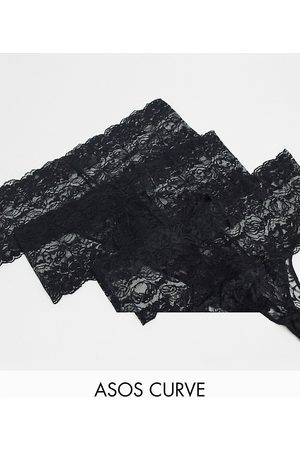 ASOS ASOS DESIGN Curve - Confezione da 3 perizomi neri in pizzo con elastico ampio