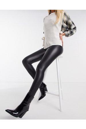 Hollister Leggings in pelle sintetica a vita alta neri