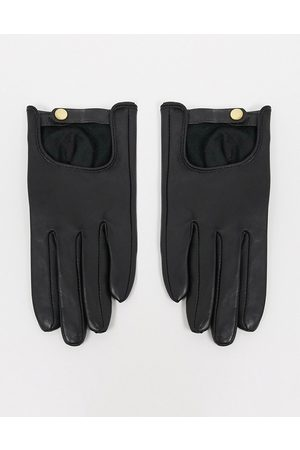 ASOS Guanti touch screen in pelle nera tinta unita
