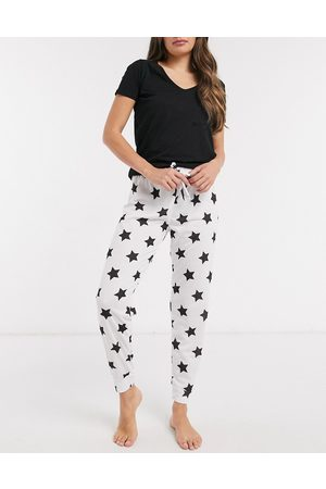 Outrageous Fortune Joggers skinny da notte bianchi con stampa di stelle