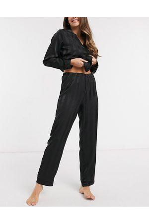 Loungeable Pantaloni in raso jacquard a righe neri
