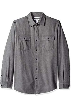 Amazon Slim-Fit Long-Sleeve Solid Flannel Shirt Button-Down-Shirts, Antracite Melange, US S