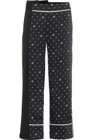MONSE Pantaloni a pois in twill e lana stretch
