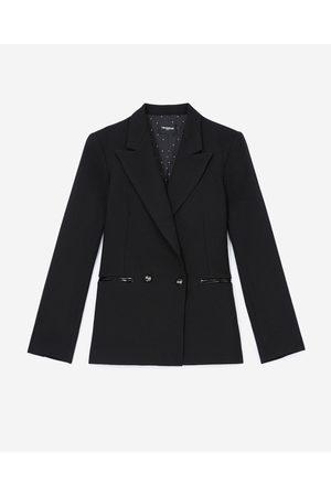 The Kooples Black jacket in wool w/croc-print leather