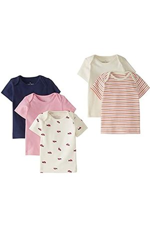 Moon and Back by Hanna Andersson 5 Pack Lap Neck Crew Tee T-Shirt Set, Pink Multi, 6-12 Months, Pacco da 5