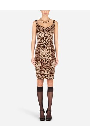 Dolce & Gabbana Donna Vestiti longuette - Collection - ABITO MIDI IN CHARMEUSE STAMPA LEOPARDO female 36