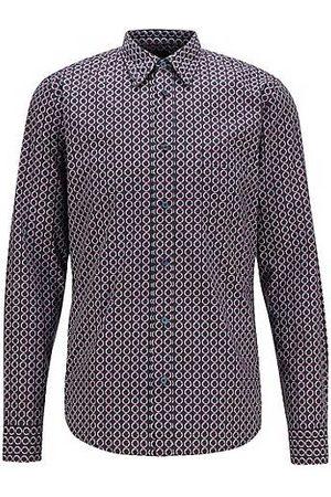 HUGO BOSS Camicia slim fit in popeline di cotone con motivo della stagione