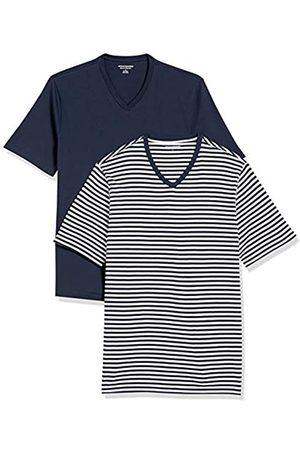 Amazon Uomo Polo - 2-Pack Loose-Fit V-Neck T-Shirt Fashion-t-Shirts, Navy-White Stripe/Navy, US M