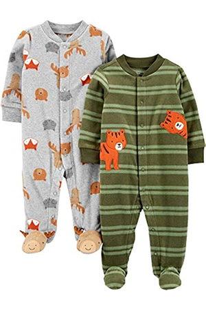 Simple Joys by Carter's Confezione da 2 Piedini in Pile per Dormire e Giocare. Infant-And-Toddler-Sleepers, Tigre/Animali, US NB