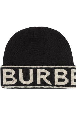 Burberry Cappello Beanie In Maglia Di Cashmere Con Logo