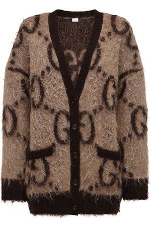 Gucci Donna Cardigan - Cardigan Oversize In Maglia Di Misto Mohair Gg