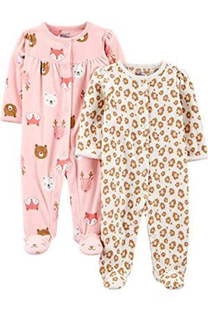 Simple Joys by Carter's Confezione da 2 Piedini in Pile per Dormire e Giocare. Infant-And-Toddler-Sleepers, Animali/Ghepardo Stampa, US NB