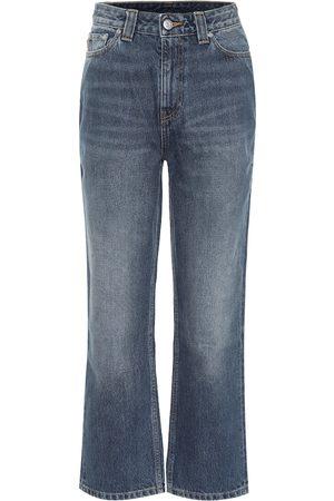 Ganni Jeans cropped a vita alta