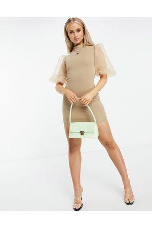 Ax Paris Vestito corto con maniche in organza color moka